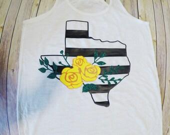 White Racerback Womens Tank-Black and White Stripe Texas-Floral-Flowers-Summer Tank-Oversize