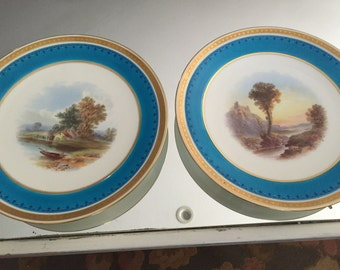 Antique Plates/2 Display Plates/Minton/22 Kt Gold Beading Trim/Grisaille Hand Painted Topography/Landscape/Turquoise Border/Cabinet Display