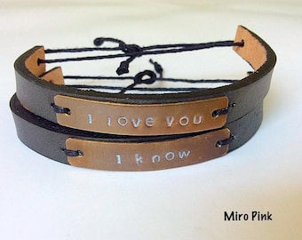 Custom made Valentine Handstamped Brass Leather Metalstamp Set Bracelet for couples of 2 For Couples Or Best Friends