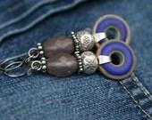 Rustic Bohemian Cobalt Blue Lampwork * Lady in Blue * earrings n0- elegant modern earrings . bohemian jewelry . Karen Hill Tribe . Sterling