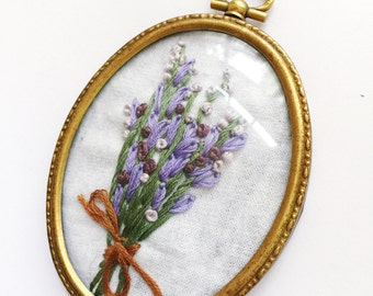 Embroidered Flowers in an Antique Frame, Lavender Bouquet in an Oval Hoop.