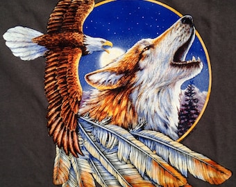 Eagle and Wolf Native American t shirt
