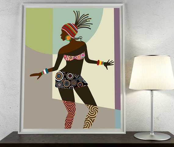 African woman african american art black woman by iqstudio for African wall art