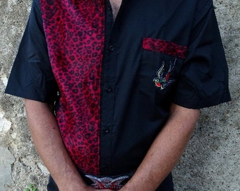 Men's work shirt rockabilly psychobilly punk leopard zebra tattoo zombie frankenstein hawaïan walking dead polka dot skulls roses dices