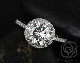 Kubian 8mm14kt White Gold Round F1- Moissanite and Diamonds Halo Engagement Ring (Other metals and stone options available)