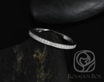 Rosados Box 14kt White Gold Matching Band to Victoria/Rori Diamonds Pave WITHOUT Milgrain ALMOST Eternity Band