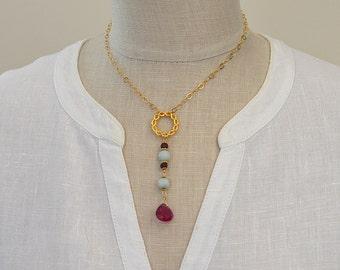 Gold endless circle Y necklace Rubellite pink tourmaline teardrop dangle necklace Fuchsia gemstone drop Boho infinity knot Bohemian jewelry