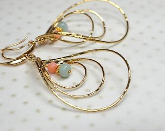 Spinning triple hoop earrings Gemstone hoop Coral Amazonite dangle drop earring Big long gold teardrop earring Spinner earring Caged earring