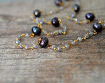 Sophisticated black pearl necklace Delicate necklace Labradorite necklace Gemstone beaded rosary chain necklace Luxury fashion jewelry