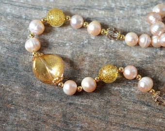 Sophisticated blush pearl necklace Venetian glass Murano glass Single strand peach freshwater cultured pearl jewelry for women