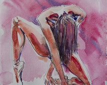 NUDES erotic girl aquarelle art. Original Watercolor by Nataly Basarab. SEXY Figure Drawing Female paintings. Beautiful Women Home Decor