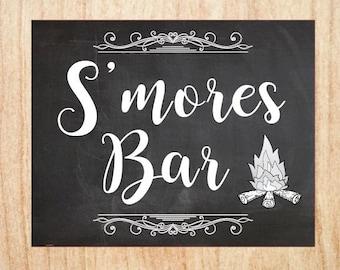 S'mores sign wedding smores chalkboard PRINTABLE  digital instant download favor