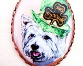 St Patrick's Day Westie Original Copper Plate Pin
