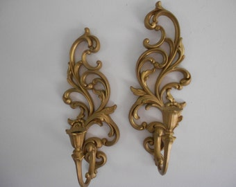 Pair of Syroco sconces gold, French country, Paris apartment, ornate, Baroque
