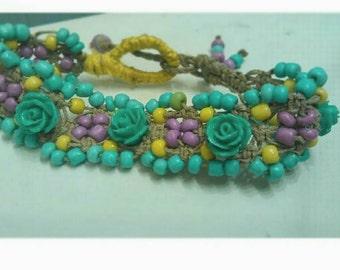 Hemp woven flower bracelet
