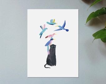 Illustration, Affiche, Impression sur papier, Panthère Noire