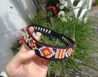 Beaded headband with feathers ~ FREE SHIPPING