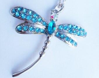 Blue dragonfly, dragonfly necklace, dragonfly necklaces, blue dragonfly necklace, dragonfly jewelry,aqua blue dragonfly,aqua crystal pendant