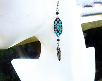Turquoise earrings, blue earrings, feather earrings,boho earring, boho earring, turquoise blue earrings, long feather earrings, gypsy