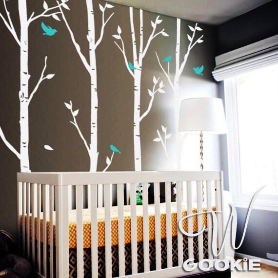 Birch trees and birds nursery tree wall decal sticker by for Birch tree mural nursery
