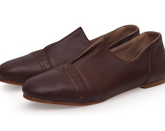 JEWEL. Brown leather flats  / women shoes / brown leather shoes / flat leather shoes. Sizes 35-43. Available in different leather colors