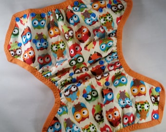 Owls OS Side snapping Diaper Cover