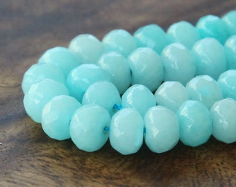 30 Pcs Dyed Jade Beads, Aqua, 8x6mm Faceted Rondelle - eDJX-A01-87