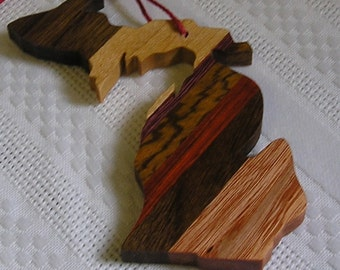 Michigan hardwood ornament. handcrafted