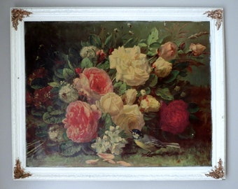 Vintage Framed Art / Cabbage Roses, Bumblebee, Bluebird / Shabby and Romantic, Jean Baptiste Robie