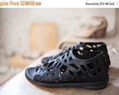 SALE 40% OFF Flat leather cut out shoes, Designer comfortable shoes / leather black shoes / Black summer flats /Spring 2015 Fashion
