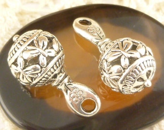 3D Filigree Butterfly Drop Charm, Antiqued Silver (4) - S16