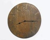 21'' large rustic wall clock, unique big wall clock from old wooden wine barrel