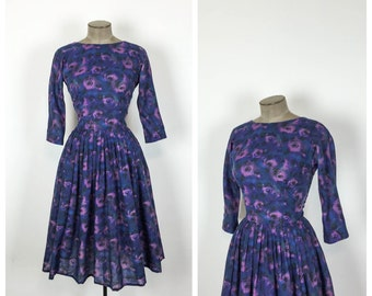 50s Blue Fit and Flare Party Dress • 1950s Knee Length Floral Dress • 50s Full Skirted Evening Dress • Medium