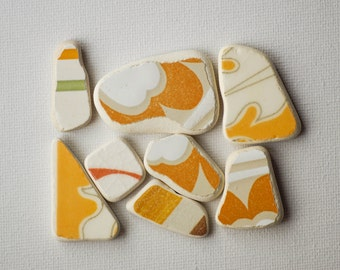 Patterned Matching Sea Pottery, Pendant/Ring Sized, SP Jewelry Supply, Ornamental Pattern,Orange /White, Mosaic Pieces