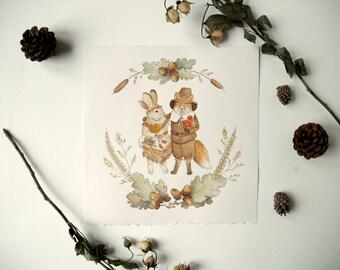 Original Painting: Thanksgiving Friends - fall illustration, watercolor, children's art, holiday, indian, pilgrim,cute, woodland, fox, bunny