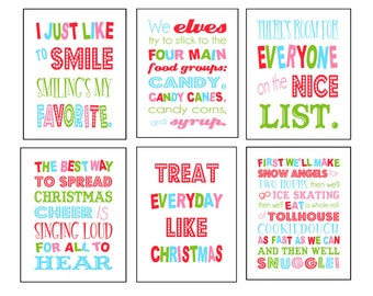 11x14 Set of Six Buddy the Elf Christmas Digital Art Printables