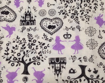 Alice in Wonderland Japanese Fabric / Double Gauze Purple Alice - 110cm x 50cm