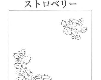 Sashiko Sampler Cloth Kit Strawberry Design Hana Fukin - Traditional Japanese Craft