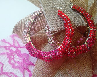 Red/Pink/Hot Pink Rhinestone Hoop Earrings~Decorative Colorful Rhinestones~Party Earrings~Casual Wear Earrings~Gift Idea~Dangle Earring