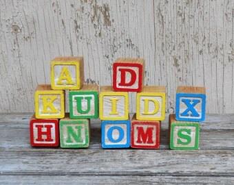 Wood Alphabet Blocks - Vintage Wooden Toy Blocks - Set of 12