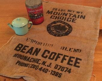 Vintage burlap coffee bean bag, crafts, pillows, storage
