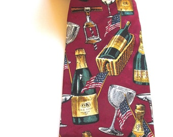 Max Raab Americana Series Champagne picnic silk tie, ConMisManosVintage