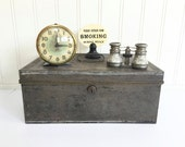 VINTAGE METAL Industrial BOX - Chest - Cash Box - Document Box - Money Box - Rustic Faded Black