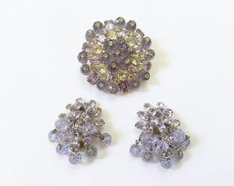 VINTAGE WEISS Pin Earrings Set - Purple Lilac Crystal Stones - Rhinestone Pin - Silver Tone   Designer Signed - Prong Set