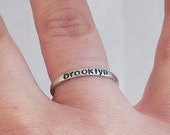 Sterling Silver Name Ring, 2mm, Stackable Name Ring,  Personalized Name Ring,  Hand made, thin stacking ring, Custom name ring, Mothers Ring