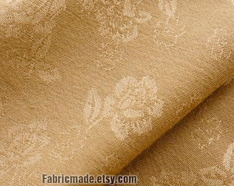 Jacquard Floral Fabric, Camel Tan With Jacquard Vintage Flower Double Faced - 1/2 yard