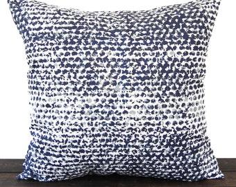 Pillow, Throw Pillow, Pillow Cover, Cushion, Decorative Pillow, Vintage Indigo Navy Blue White Batik Zoey