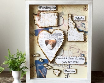Anniversary Gift - Map Gift - Wedding Vow Art - Shadow Box Art -Personalized Gift