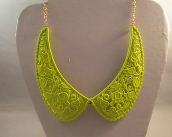 SALE Yellow Collar Necklaces on a Gold Tone Chain