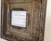 Huge 8 x 10 distressed metal with distressed taupe, egg plant, and metal antique tin ceiling tile picture frame